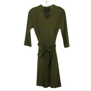 Glamour olive green dress with belt size M